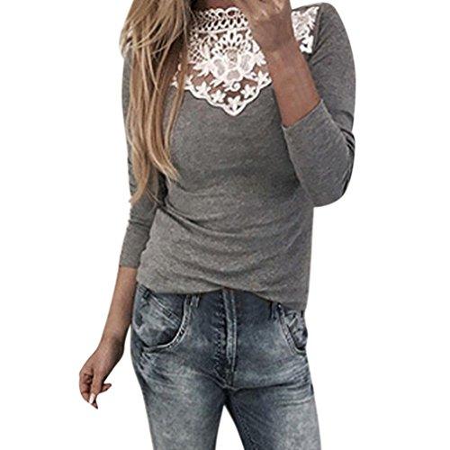 Damen Spitzenbluse Elegante Blusen Festliche Blusen Damen Rollkragenshirts Lace Langarmshirt Blusenshirts Slim Fit Spitzetops Spitzenshirt Patchwork OL Ladies Tunika Blusen (Gray, M) (Top Lace Über)