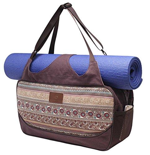 Große Yogatasche »Vimalaa« von #DoYourYoga aus Segeltuch (Baumwoll-Canvas) - aufwendig per Hand verarbeitet, für EXTRA-LANGE und EXTRA-BREITE Yogamatten! Die Yogatragetasche ( Yogabag) ist in sehr schönen Farben und ausgefallenen Designs erhältlich. Ferner eignet sich die Tasche auch für als Sporttasche / Fitnesstasche Farbe: Braunes Muster