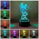 Cartoon Minnie Mouse Mickey 3D Illusion Led Nachtlicht 7 Farbe Weihnachten Geburtstag Mädchen Geschenk Tabelle Schlafzimmer Lampe