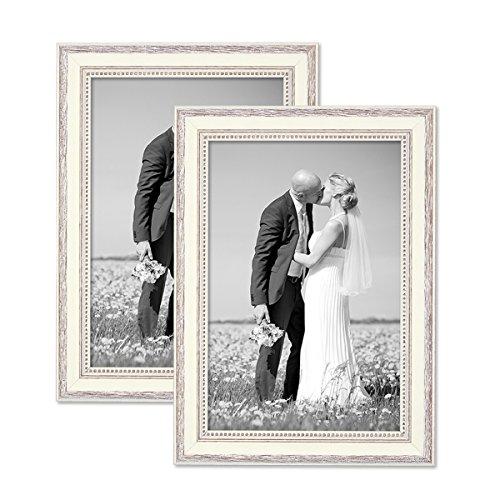 Juego de 2 marcos 20x30 cm blancos, estilo casa rural, madera maciza con cristal y accesorios / marco de fotos / añejo chic