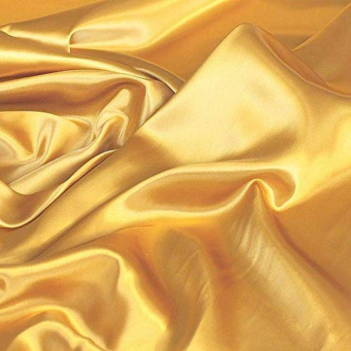 TOLKO Glanz Satin Modestoff/Deko-Stoff/Kostümstoff als Meterware am Stück (Gold) -