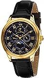 Louis XVI Herren-Armbanduhr Élysée Gold Schwarz Swiss Made Mondphase Analog Quarz Echtes Leder Schwarz 563