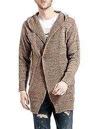 Hombre Chaqueta Larga Delgada de la Rebeca del Suéter del Knit Cárdigan Outwear ...