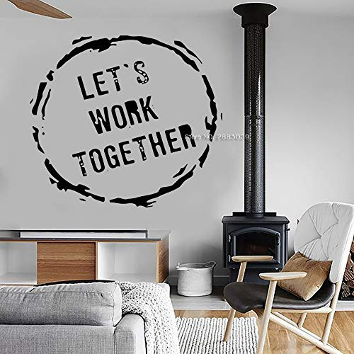 Abba Öl (Ajcwhml Büro Wand Art Deco Applique Teamwork Zitat Büro Dekoration Lassen Sie Uns zusammenarbeiten Vinyl Wandaufkleber Schriftzug Wandbild 63 cm x 56 cm)