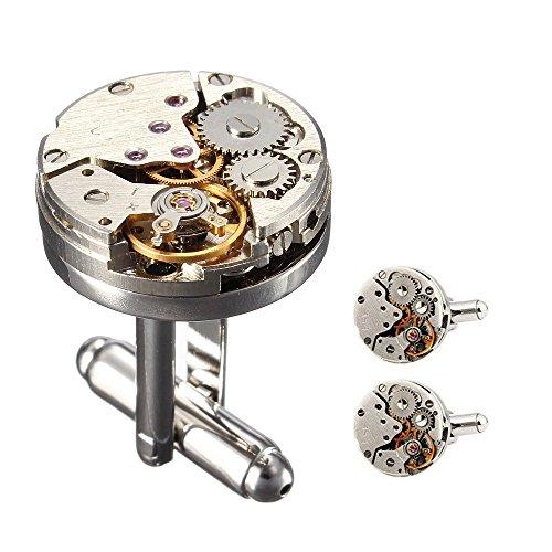 Cufflinks 1 Paar Weinlese Rund Uhr Bewegungs Maschinen Entwurfs Manschettenknöpfe für Mens (Runder Manschettenknöpfe)