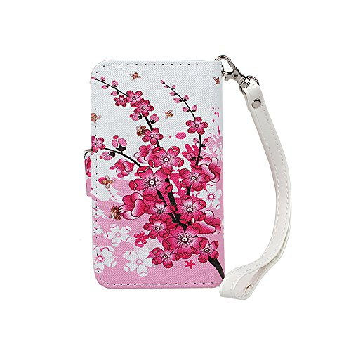 Case for iPhone 5C, xhroizon Custodia Folio in pelle Premium [Magnetico] Wristlet Cordino Mano Stile Flip Book Molteplici Card Slot Tasca Cash con Cover di Protezione Magnetica per iPhone 5C Wintersweet + 9H vetro temperato Film