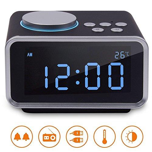 FM Digital Radio Wecker Radiowecker Uhrenradio mit LCD-Display Dual-Alarm Schlummerfunktion Temperatur und Dimmbare Helligkeit 2 USB-Ladeanschluss(2.1A+1.1A) (Schwarz)