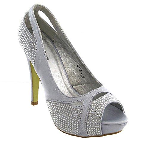 Essex Glam - Damen Pumps Strasssteine Zehenfreie Abend Ball Hochzeit Braut Schuhe Silber Satin