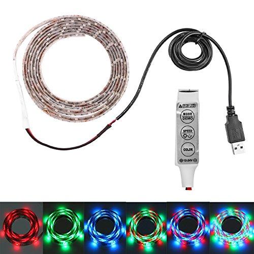 2M /6.6ft wasserdichte 120leds Flexible Farbwechsel USB-LED-Streifen-Lichter 3528 SMD Für TV-Computer-Desktop-Laptop-Tablette PC Auto-Zigarettenanzünder Hintergrund Dekorative RGB -