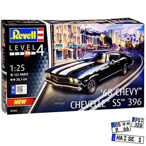 Chevrolet Chevy Chevelle SS396 Coupe Schwarz mit Weiss 2. Generation 1968-1972 Bausatz Kit 1/24 1/25 Revell Modell Auto (Chevy-kits Modell)