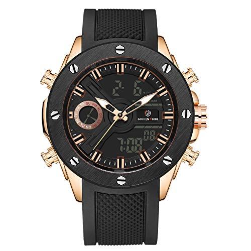 Herren Sport Militär Armbanduhr Wasserdicht Dual Time Datum Taktik Alarm Stoppuhr Armbanduhr für Herren mit Silikonband schwarz goldfarben (Armbanduhr Time Digital Edelstahl Dual)
