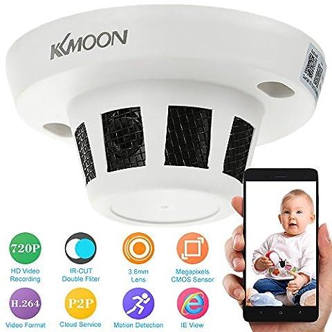 KKmoon Smoke Detector Camera IP Camera H.264 HD 720P IR-CUT Motion Detection CCTV Security Home Surveillance Indoor Security Smoke Detector Camera Mini Camcorder