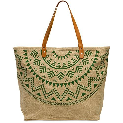 CASPAR TS1037 große XXL Damen Jute Naturfaser Strandtasche/Shopper mit stylischem Azteken Print und Leder Henkeln, Farbe:grün;Größe:One Size -