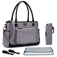 Nappy Changing Bag,BRINCH Stylish Multi-function Shoulder Baby Diaper Tote Bag Portable Shopping Handbag with Changing Pad,Stroller Straps and Insulated Pocket,Grey