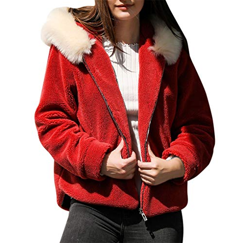 Dorical Damen Mantel Plüsch Winterparka Casual Teddyfleecejacke Winterjacke Revers Faux Wolle Warm Outwear Plüsch Jacke Coat Umlegekragen mit Zwei Taschen Gr S-XXXL(Z02-Rot,Large)