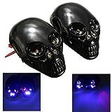 mark8shop 12V Motorrad Skull Blinker LED Kennzeichenbeleuchtung Skelett Kopf