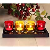 [Sponsored]TIED RIBBONS T Lights Holder Pack Of 4 (Multicolor, Glass) With Wooden Tray And T-Light Candle