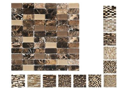 1 Netz Marmor Glas Mosaik Castano Brick Ambiente von Mosaikdiscount24 - TapetenShop