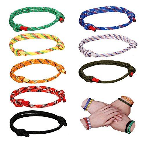 Yadoca 8 Stück Geflochtene Armbänder für Mann Frau Marine Seil Schnur Armband Handgemachtes Armband Bunte Einstellbar (Für Armband Männer Marine)