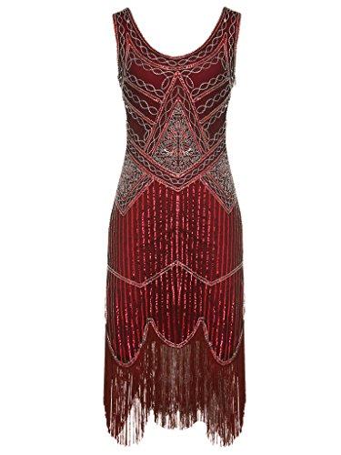 FAIRY COUPLE 1920 Pailletten Perlen Quasten Falten Gatsby Flapper Kleid D20S001(L,Dunkelrot)