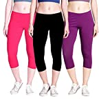 #10: klugger Stylish women's Trendy Super Fine Pure Cotton Lycra Capri 190 GSM Pack of 3 (Free Size)