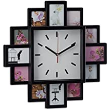 Relaxdays Marco de Fotos Múltiple con Reloj, Aluminio y Cristal, Negro, 35x35x4 cm