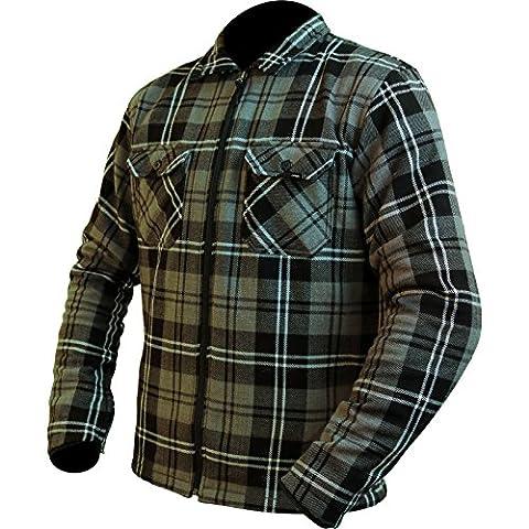 ARMR Moto Aramid Check Motorcycle Shirt XXL Grey Black