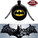 BATMAN BLACK METAL 3D GLASS DOME IMPORTED METAL PENDANT WITH CHAIN. LADY HAWK DESIGNER SERIES 2018. ❤ ALSO CHECK FOR LATEST ARRIVALS - NOW ON SALE IN AMAZON - RINGS, KEYCHAINS, NECKLACE, BRACELET & T SHIRT - CAPTAIN AMERICA - AVENGERS - MARVEL