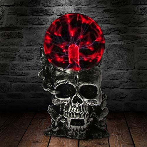 ABILY 10cm Schädelform Plasma Kugel Nebel Kugel Kugel Neuheit Tischlampe Schlafzimmer Dekor Glas Halloween buntes Nachtlicht