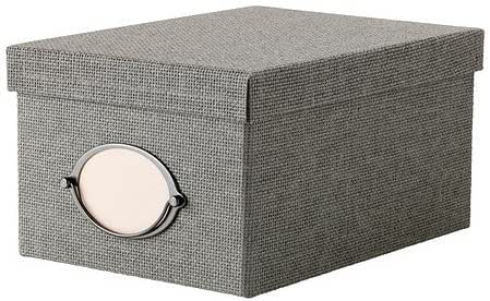 IKEA KVARNVIK Kasten mit Deckel; in grau; (21x29x15cm