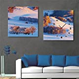 NAUY-Modern Style Canvas Painting Snow Mountain Scenery Reloj de Pared en Lienzo 2pcs
