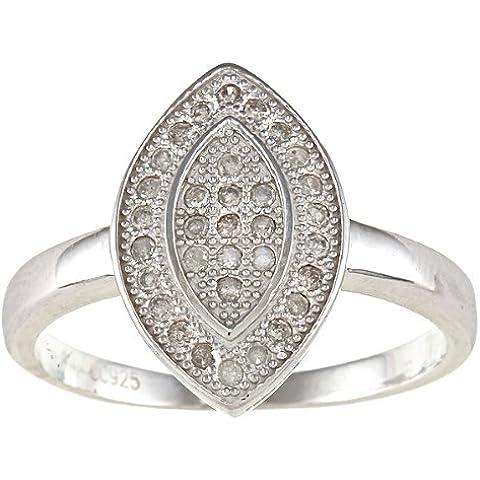 Argento Sterling 1/2CT pavé di diamanti taglio Marquise Anello (G-H, I2)
