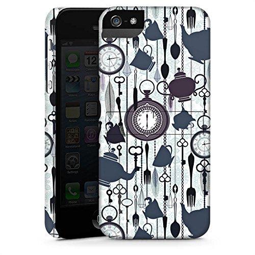 Apple iPhone 5s Housse Étui Protection Coque Thé heure temps Motif Motif CasStandup blanc
