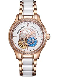 PRINCE GERA Watch Women's Rose Gold Luxury Watches for Ladies Waterproof Ceramic Automatic Dress Watch