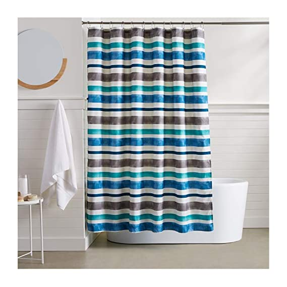 AmazonBasics Watercolor Striped Shower Curtain - 72 Inch, Blue
