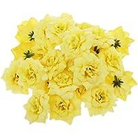 jellbaby simulación rosas rizado ramo de flores pared flores flores de seda boda lazo amarillo