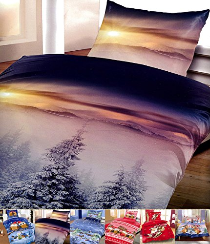 Winter Flausch Bettwäsche Weihnachten Motive Microfaser Thermo Fleece, 2x 135x200 cm + 2x 80x80 cm Winterhills