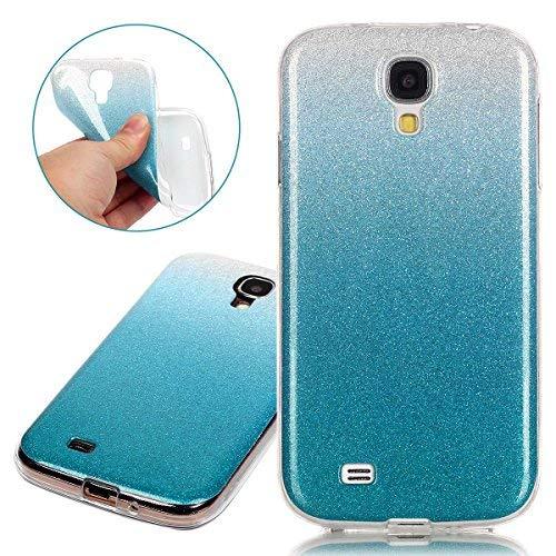 ISAKEN Compatibile con Samsung Galaxy S4 Custodia - Ultra Sottile Morbida TPU Cover Glitter Bling Custodia Case Gradient Protezione Posteriore Case Cassa Bumper[Shock-Absorption] - Blu Chiaro