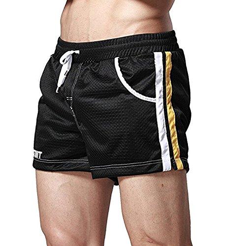 Aunua Herren Workout Laufen Running Mesh-Shorts mit Tasche Schwimmen Schwarz