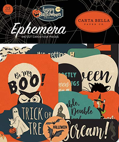 Carta Bella Paper Company CBHAL104024 Happy Halloween Ephemera, Orange, Schwarz, Blau, Marineblau