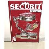Securit - Cierre de pestillo con cadena (2 llaves, cromado)