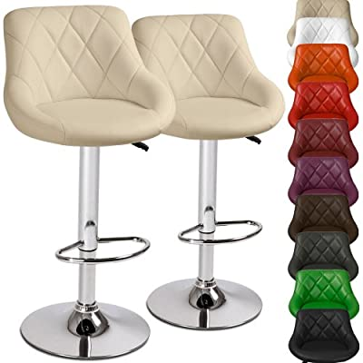 Miadomodo Swivel Bar Chairs (Set of 2) Height Adjustable Stools Kitchen Dining Home Furniture - cheap UK bar stool shop.