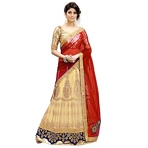 Siddeshwary Fab Womens Beige And Maroon Net Lehenga Choli With Blouse Piece