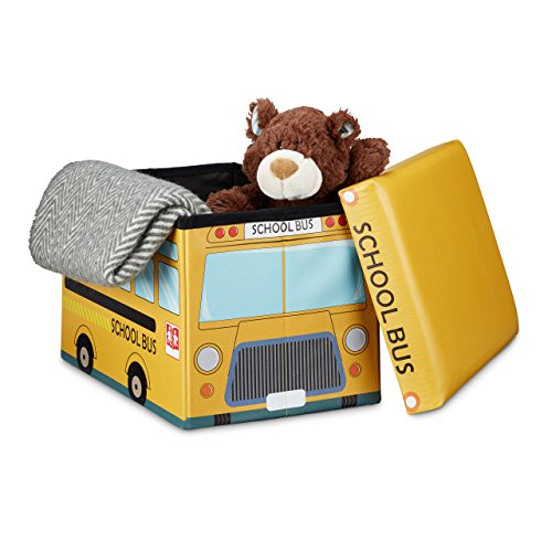 Relaxdays Puff Almacenaje de Juguetes Autobús Escolar, Piel Sintética, Amarillo, 32 x 48 x 32 cm