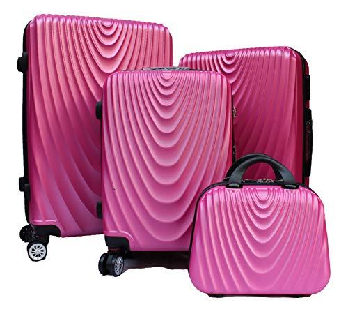 R.Leone Valigia da 1 pezzo Fino a Set 4 Trolley Rigido grande, medio, bagaglio a mano e beauty case 4 ruote in ABS 2011 (Rosa, Set 4 XS S M L)