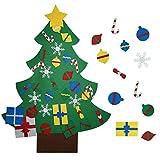 Yachee Weihnachtsbaum DIY, Filz Weihnachtsbaum Wand hängend Weihnachtsschmuck mit 32 pcs Abnehmbare Filz Klettverschluss Weihnachtsdekoration für Kindern