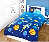 Space Rockets Children's Rotary Single Duvet Quilt and
