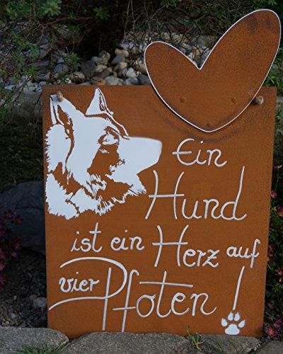Edelrost Tafel Hund mit Bild und Spruch
