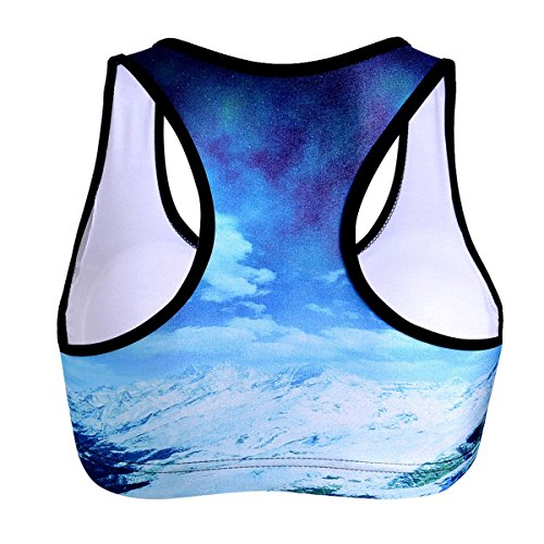 WKAIJCC Femme Sport Gilet Sous-vêtements Numérique Imprimé Sans Anneau En Acier Running Veste Yoga F