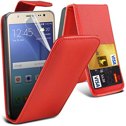 Hülle für Samsung Galaxy J5 / Samsung Galaxy J5 SM-J500F Case Universal Car Phone Halter Halterung Cradle-Dashboard & Windschutz für iPhone yi -Tronixs Leather Flip ( Red )